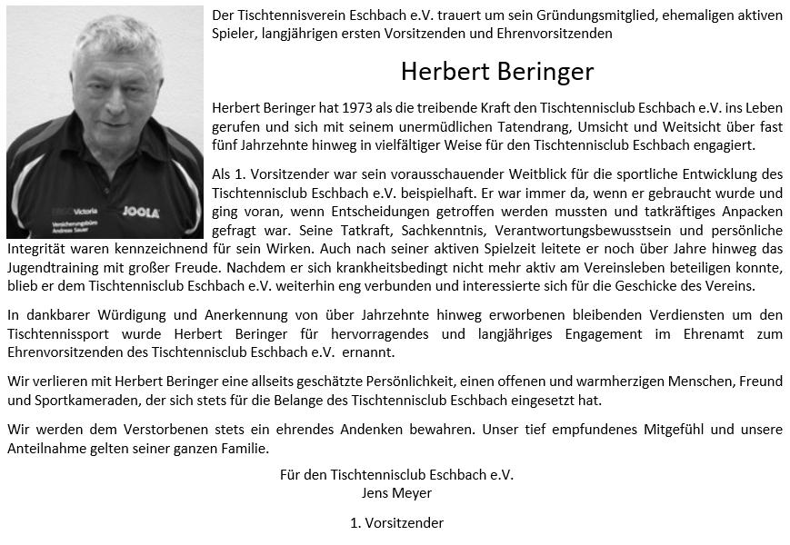 Herbert Beringer - Wir vermissen Dich