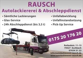 Sponsoren TTC Eschbach - Rausch Autolackiererei & Abschleppdienst