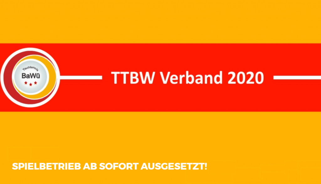 TTBW Spielbetrieb ausgesetzt